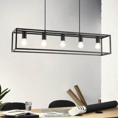 Lampadario Industriale Eldrick nero in metallo, L. 100 cm, 5 luci, EGLO