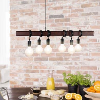 Lampadario Industriale Medbourne marrone/nero in metallo, L. 110 cm, 6 luci, EGLO