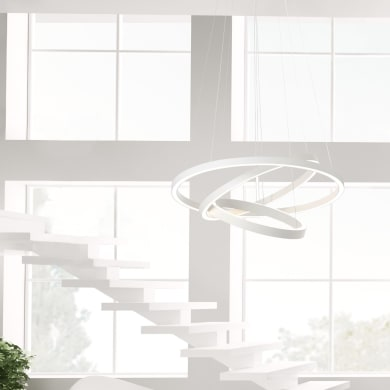 Lampadario Moderno Anilo LED integrato bianco, in metallo, D. 120 cm, 3 luci, BRILLIANT