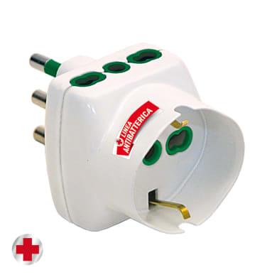 Adattatore FANTON antibatterico salvaspazio+2 pr10/16A+ Universale 16 A bianco
