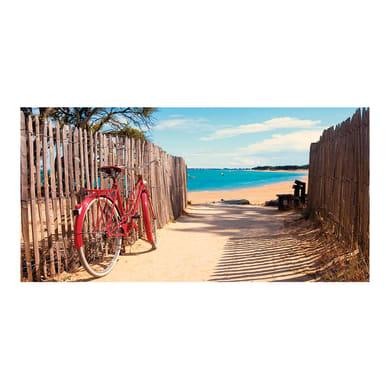 Quadro su tela Bici in spiaggia 140x70 cm