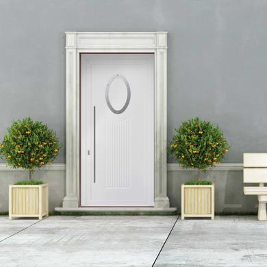 Portoncino d'ingresso Modern1 bianco L 90 x H 210 cm destra