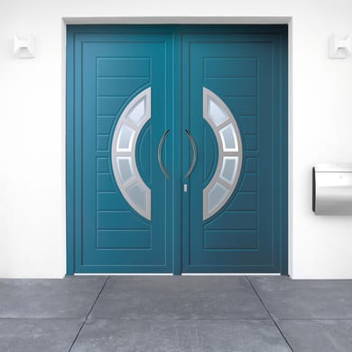 Portoncino d'ingresso Modern5 blu L 180 x H 210 cm sinistra