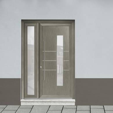 Portoncino d'ingresso Modern4 grigio L 132 x H 210 cm destra