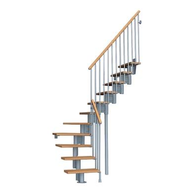 Scala a rampa 1/4 di giro Keis FONTANOT L 64 cm, gradino chiaro, struttura grigio