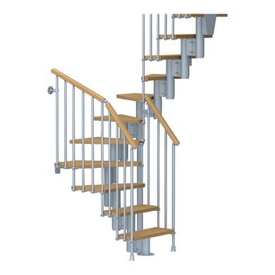 Scala a rampa due quarti di giro Mercalli FONTANOT L 64 cm, gradino chiaro, struttura grigio