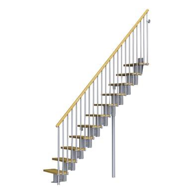 Scala a rampa modulare Mercalli FONTANOT L 64 cm, gradino faggio naturale, struttura grigio