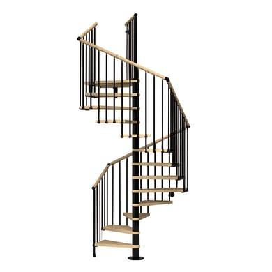 Scala a chiocciola quadrata Cube corrimano in legno FONTANOT L 138 cm, gradino faggio naturale, struttura nero