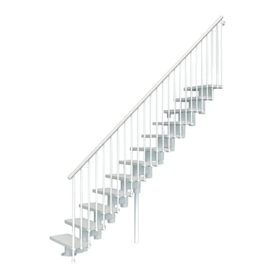 Scala a rampa dritto Long FONTANOT L 65 cm, gradino bianco, struttura bianco