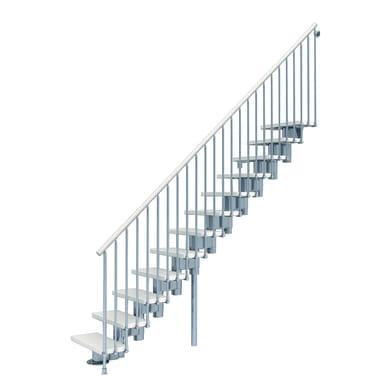 Scala a rampa dritto Long FONTANOT L 65 cm, gradino bianco, struttura cromato