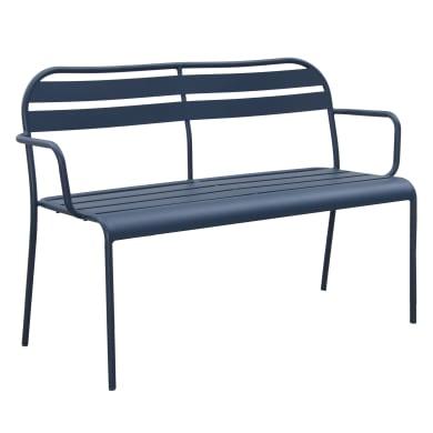 Panca da giardino senza cuscino in acciaio Contemporary colore blu