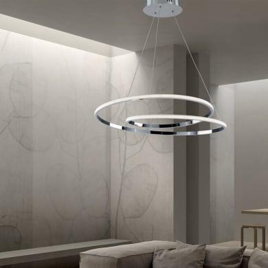 Lampadario Moderno Malena LED integrato cromo, in alluminio, D. 60 cm