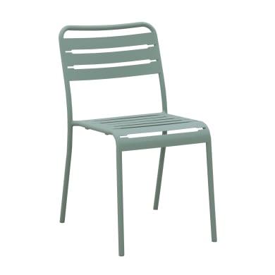 Sedia da giardino senza cuscino in acciaio Cafe colore verde