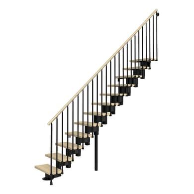 Scala a rampa dritto Long FONTANOT L 75 cm, gradino faggio naturale, struttura nero