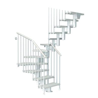 Scala a rampa due quarti di giro Long FONTANOT L 75 cm, gradino bianco, struttura bianco