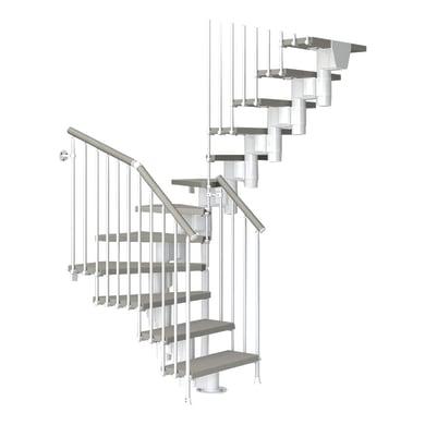 Scala a rampa due quarti di giro Long FONTANOT L 75 cm, gradino tortora, struttura bianco