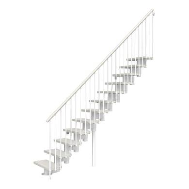 Scala a rampa dritto Long FONTANOT L 90 cm, gradino bianco, struttura bianco
