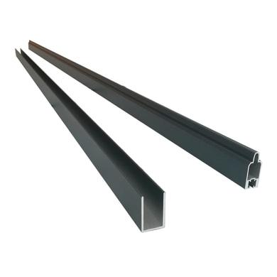 Profilo 2 pezzi profilo inizio e fine in alluminio H 6 x L 2 grigio