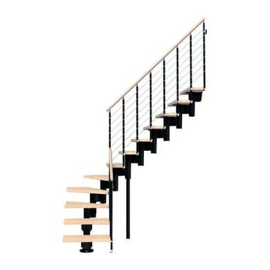 Scala a rampa 1/4 di giro Long FONTANOT L 90 cm, gradino faggio naturale, struttura nero