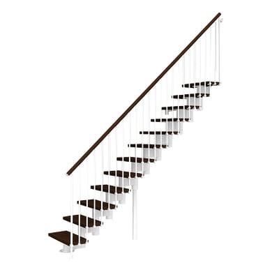 Scala a rampa dritto Long FONTANOT L 65 cm, gradino faggio scuro, struttura bianco