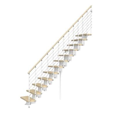 Scala a rampa dritto Long Tube FONTANOT L 65 cm, gradino faggio naturale, struttura bianco