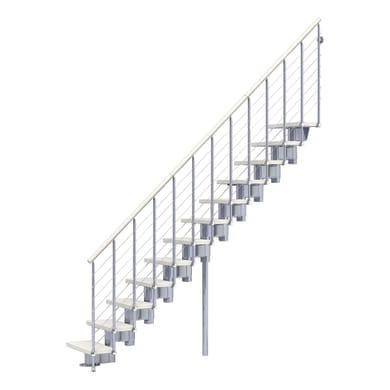 Scala a rampa dritto Long Tube FONTANOT L 75 cm, gradino bianco, struttura cromato