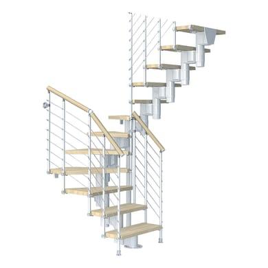 Scala a rampa due quarti di giro Long Tube FONTANOT L 90 cm, gradino faggio naturale, struttura bianco