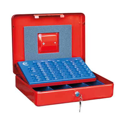 Cassetta porta valori PE02 in acciaio rosso e blu e beigeL 37 x P 28 x H 9 cm