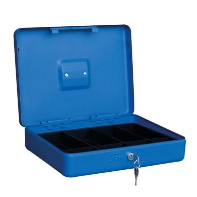 Cassetta porta valori PV05 in acciaio rosso e blu e beigeL 37 x P 28 x H 9 cm