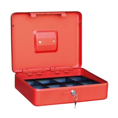 Cassetta porta valori PE01 in acciaio rosso e blu e beigeL 30 x P 24 x H 9 cm