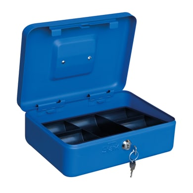 Cassetta porta valori PV03 in acciaio rosso e blu e beigeL 25 x P 18 x H 9 cm