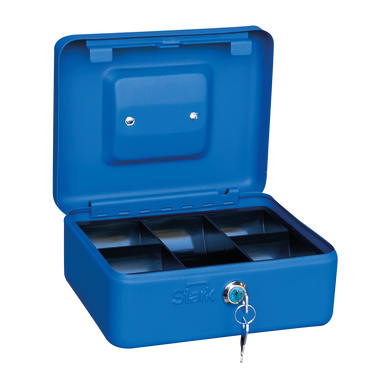 Cassetta porta valori PV02 in acciaio rosso e blu e beigeL 20 x P 16 x H 9 cm