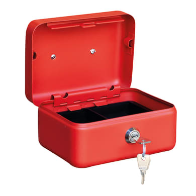 Cassetta porta valori PV01 in acciaio blu e beige e rossoL 15 x P 11 x H 7 cm