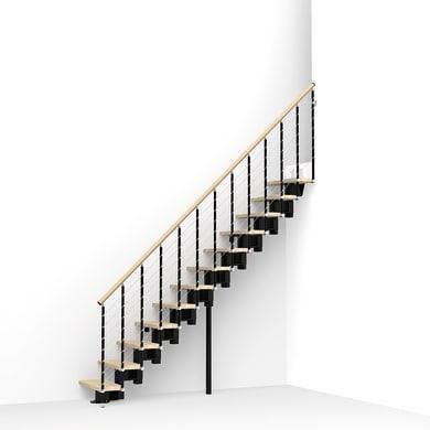 Scala a rampa dritto Long Tube FONTANOT L 65 cm, gradino faggio naturale, struttura nero