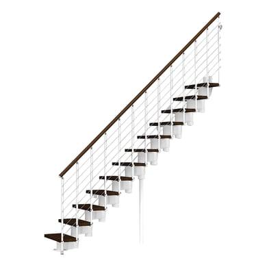 Scala a rampa dritto Long Tube FONTANOT L 90 cm, gradino faggio scuro, struttura bianco