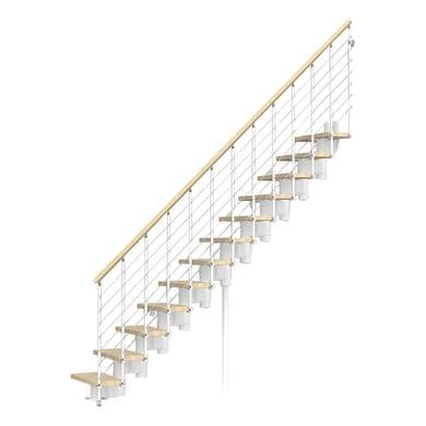 Scala a rampa dritto Long Tube FONTANOT L 90 cm, gradino faggio naturale, struttura bianco