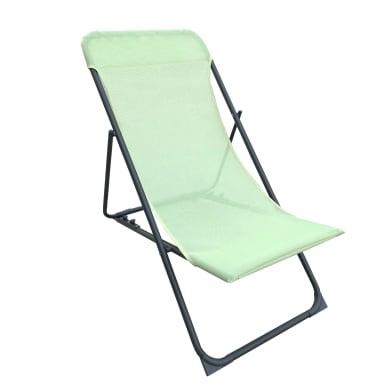 Sedia da giardino senza cuscino pieghevole in acciaio colore verde