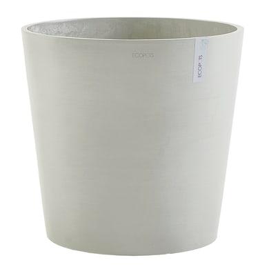 Vaso Amsterdam 50 cm - White Grey ECOPOTS in composito colore grigio chiaro H 44.5 cm, Ø 50 cm