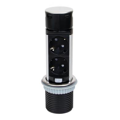 Multipresa Vertikal Push 100 da incasso verniciato nero