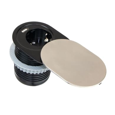 Multipresa Vertikal Push 60 da incasso acciaio inossidabile