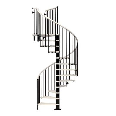 Scala a chiocciola tonda Ring FONTANOT L 118 cm, gradino bianco, struttura nero