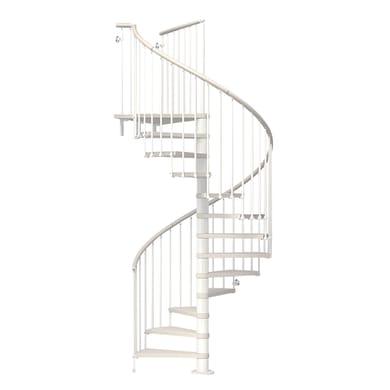 Scala a chiocciola tonda Ring FONTANOT L 128 cm, gradino bianco, struttura bianco