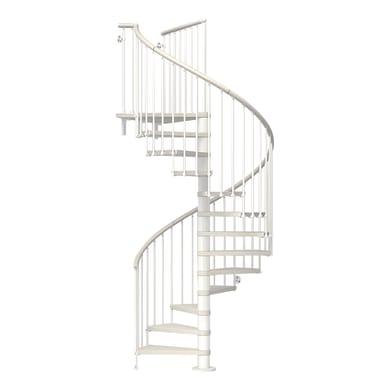 Scala a chiocciola tonda Ring FONTANOT L 138 cm, gradino bianco, struttura bianco