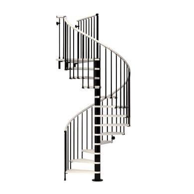 Scala a chiocciola tonda Ring FONTANOT L 138 cm, gradino bianco, struttura nero
