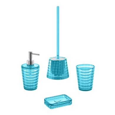 Set di accessori per bagno turchese in plastica