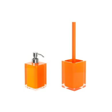 Set di accessori per bagno arancio in resina