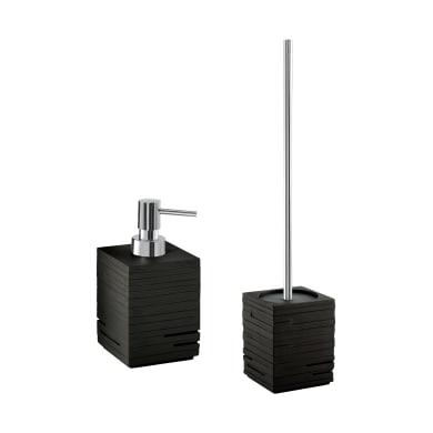 Set di accessori per bagno nero in resina
