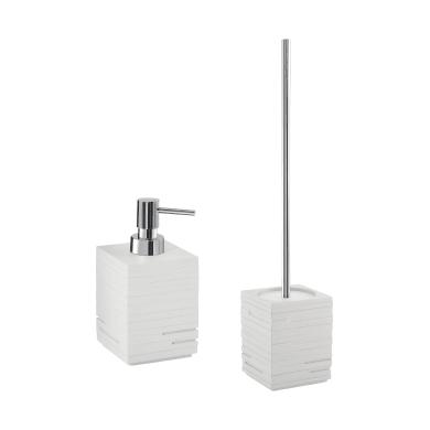Set di accessori per bagno bianco in resina