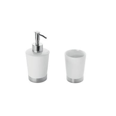Set di accessori per bagno bianco/argento in ceramica