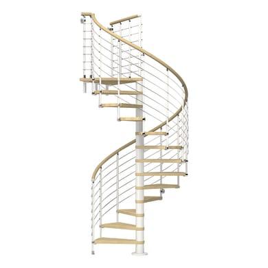 Scala a chiocciola tonda Ring Tube corrimano in legno FONTANOT L 138 cm, gradino faggio naturale, struttura bianco